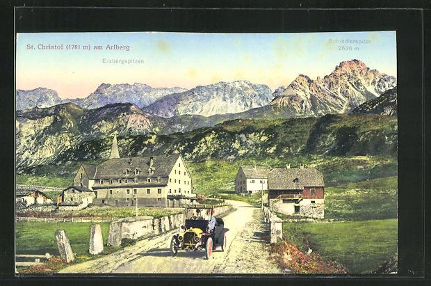 AK St. Christof am Arlberg, Strassenpartie mit Blick zur Schindlerspitze 0