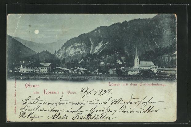 Mondschein-AK Kössen in Tirol, Ortspartie mit Calvarienberg 0