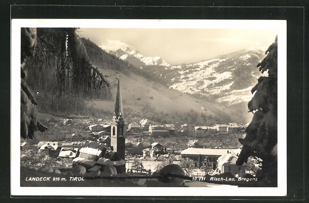 AK Landeck / Tirol, Ortsansicht mit Kirche 0