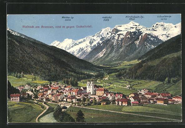 AK Steinach am Brenner, Ortsansicht gegen Gschnitztal 0