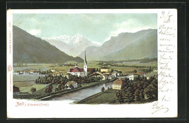 AK Zell i. Zillerthal, Ortsansicht mit Kirche 0