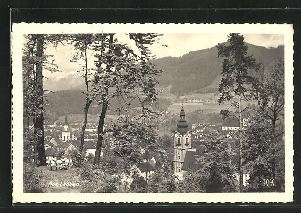 AK Leoben, Ortsansicht mit Kirche 0