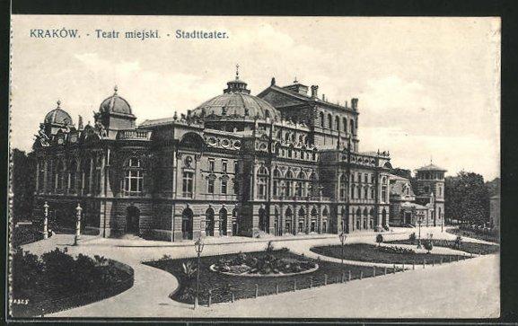 AK Krakau-Krakow, Partie am Stadttheater 0