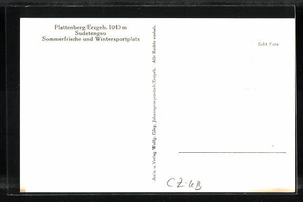 AK Plattenberg / Erzgeb., Sudetengau, Sommerfrische und Wintersportplatz 1