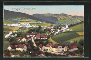 AK Steinseifersdorf im Eulengebirge, Ortsansicht aus der Vogelschau