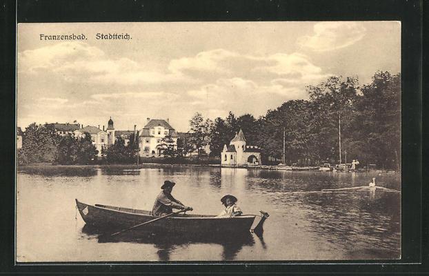 AK Franzensbad, Ruderboot auf dem Stadtteich 0