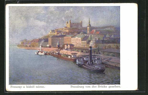 AK Pressburg, Ortspartie mit Schiffsanlegestelle von der Brücke aus gesehen 0