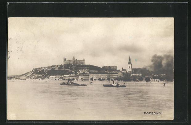 AK Pozsony, Ortsansicht vom Wasser aus gesehen 0