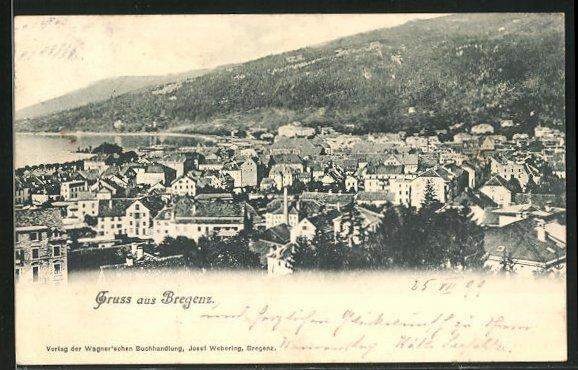 AK Bregenz / Bodensee, Ortsansicht aus der Vogelschau 0