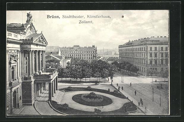 AK Brünn / Brno, Ortspartie mit Stadttheater, Künstlerhaus und Zollamt 0