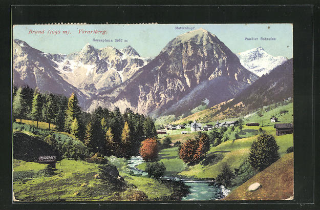 AK Brand / Vorarlberg, Ortsansicht mit Blick zum Mottenkopf 0