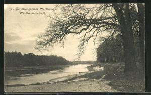 AK Posen / Poznan, Truppenübungsplatz Warthelager, Warthelandschaft