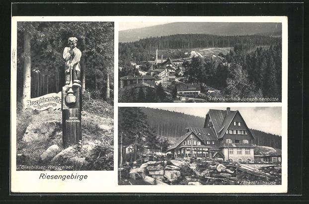 AK Schreiberhau, Josephinenhütte, Zackelfallbaude und Glasbläser-Wegweiser 0