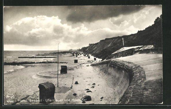 AK Horst / Seebad, Ufermauer und Hochufer 0