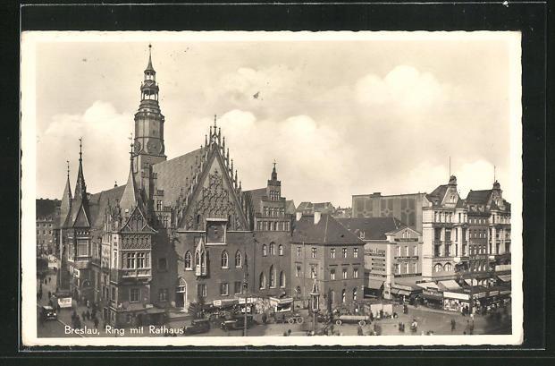 AK Breslau, Ring mit Rathaus 0