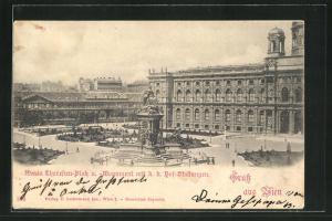 AK Wien, Maria Theresien-Platz u. -Monument mit k. k. Hof-Stallungen