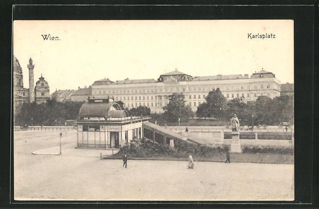 AK Wien, Karlsplatz mit Denkmal 0