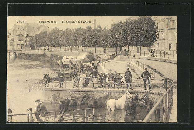 AK Sedan, Scene militaire, La Baignade des Chevaux 0