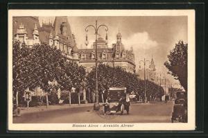 AK Buenos Aires, Automobil in der Avenida Alvear