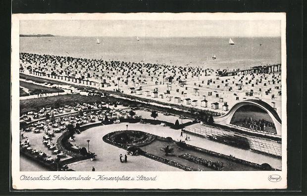 AK Swinemünde, Konzertplatz und Strand 0