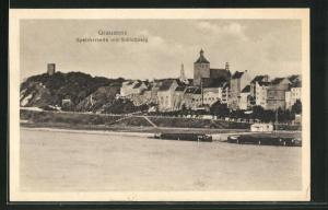 AK Graudenz / Grudziadz, Speicherseite mit Schlossberg