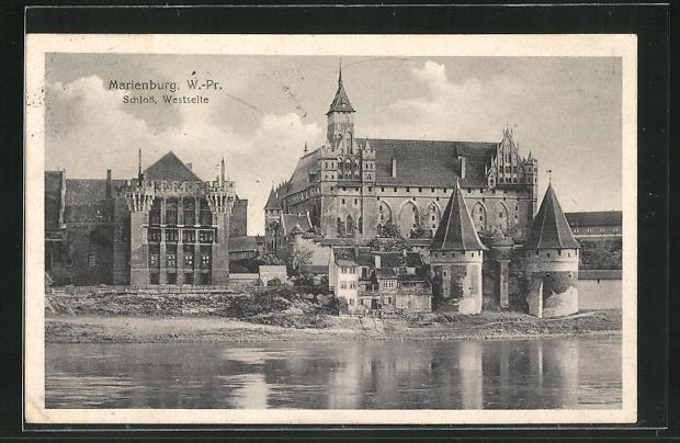 AK Marienburg / Malbork, Ausblick auf die Westseite des Schlosses 0