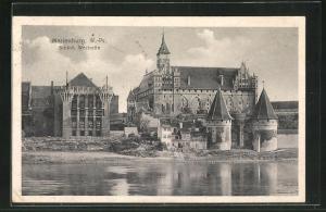AK Marienburg / Malbork, Ausblick auf die Westseite des Schlosses