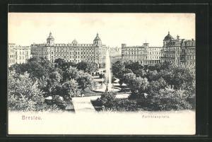AK Breslau, Springbrunnen auf dem Matthiasplatz