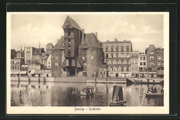 AK Danzig / Gdansk, Häuserpartie am Krahntor 0
