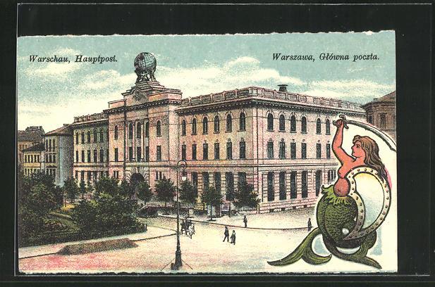 AK Warschau-Warszawa, Blick zur Hauptpost 0