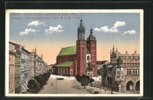 AK Krakau-Krakow, Place principale avec l`Eglise de la St. Vierge 0