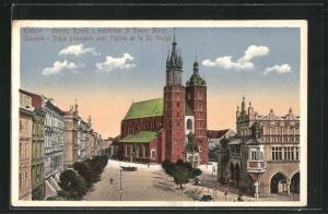 AK Krakau-Krakow, Place principale avec l`Eglise de la St. Vierge