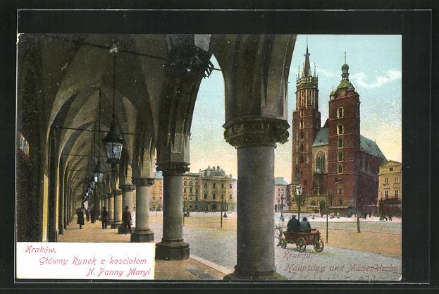 AK Krakau-Krakow, Gtowny Rynek z kosciotem N. Panny Maryi 0