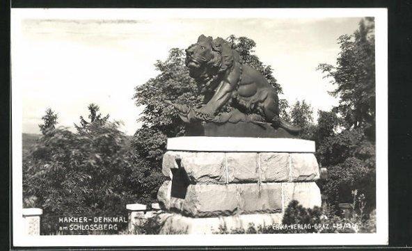 AK Graz, Hakher-Denkmal auf dem Schlossberg 0