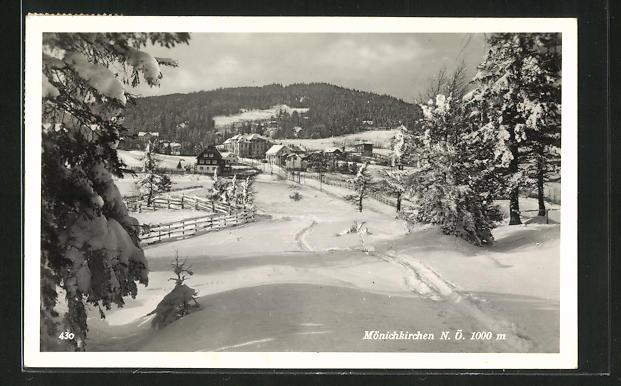 AK Mönichkirchen, Ortspartie im Schnee 0