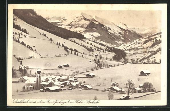 AK Saalbach im Pinzgau, Ortsansicht mit dem Zwölferkogel u. Hoher Penhab 0