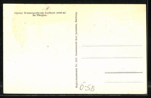 AK Saalbach im Pinzgau, Ortsansicht mit dem Zwölferkogel u. Hoher Penhab 1