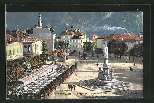 AK Bozen, Walterplatz mit Denkmal Walter von der Vogelweide u. Hotel Greif 0