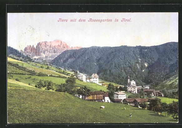AK Tiers / Tirol, Teilansicht mit dem Rosengarten 0