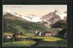 AK St. Gertraud-Sulden, Teilansicht mit Bergen