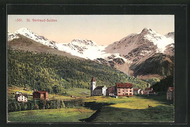 AK St. Gertraud-Sulden, Teilansicht mit Bergen 0