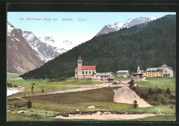 AK St. Gertraud-Sulden-Tirol, Teilansicht mit Bergen 0
