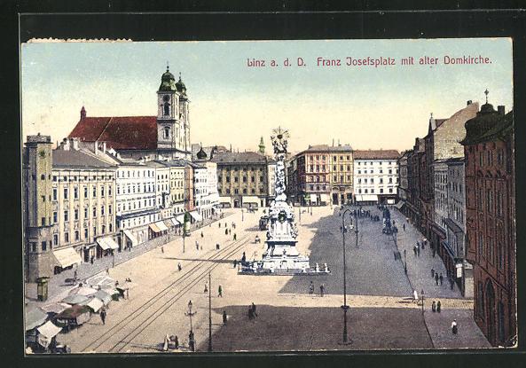 AK Linz a.D., Franz Josefsplatz mit alter Domkirche 0