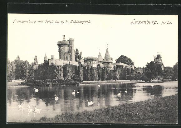 AK Laxenburg, Franzensburg mit Teich im k.k. Schlosspark 0
