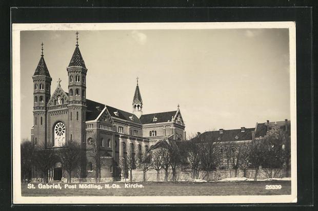 AK St. Gabriel, Blick zur Kirche 0