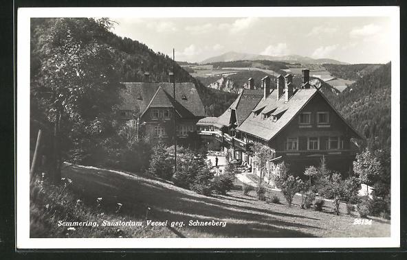 AK Semmering, Sanatorium Vecsei gegen Schneeberg 0