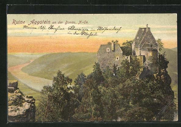 AK Aggstein a.d. Donau, Blick zur Ruine oberhalb der Donau 0