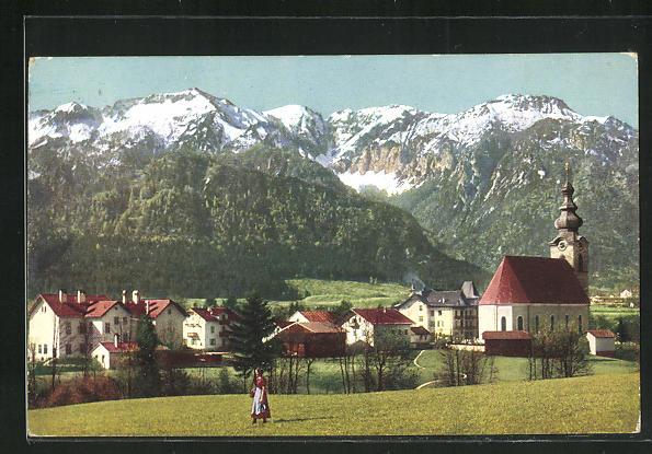 AK Grossgmain, Totalansicht mit Lattergebirge 0