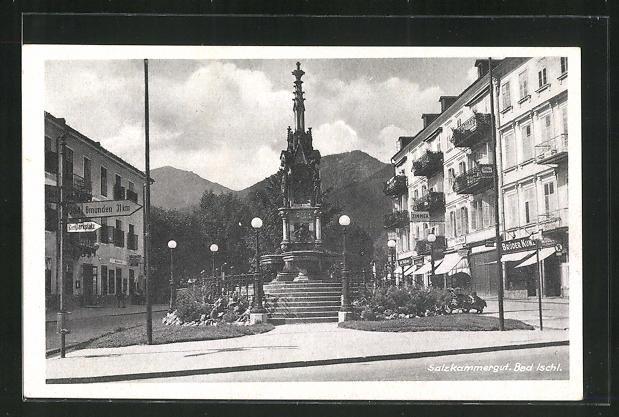 AK Bad Ischl, Geschäfte und Monument 0