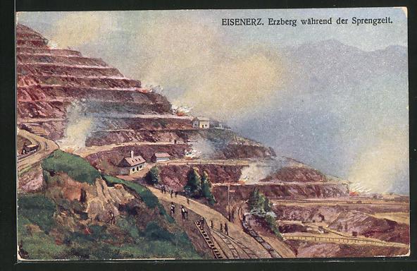 AK Eisenerz, Erzberg während der Sprengzeit 0
